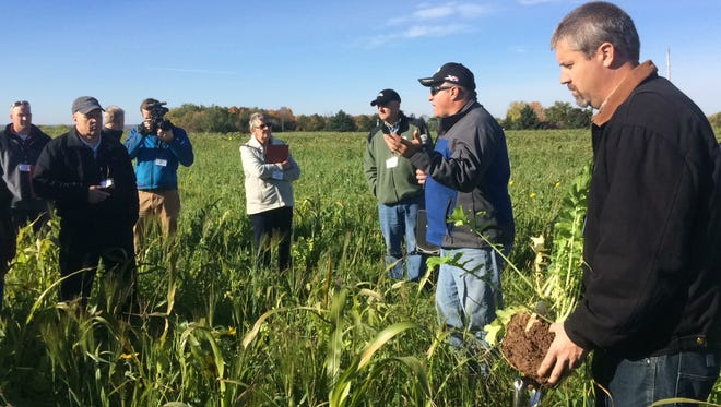 Barry Bubolz, right, of the Natural Resource Conservation Service, holds soil from a farm field with a cover crop as Brown County Land and Water Conservationist Brent Petersen, center, explains the benefits of cover crops Friday at Brickstead Dairy in Greenleaf.