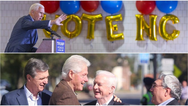 At top, Republican vice presidential nominee Mike Pence campaigns in Greensboro Monday. Below, Democratic gubernatorial hopeful Roy Cooper, former President Bill Clinton, former Gov. Jim Hunt and U.S. Rep. G.K. Butterfield talk at a campaign event Tuesday in Rocky Mount.
