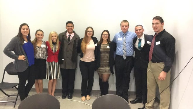 Members of Delsea Regional High School's DECA Leadership Team (from left) Ella Odore, chapter treasurer; Loredonna Fiore, co-president; Brianna Waller, secretary; Hector Agosto, fundraising committee chairman; Breanna Williams, co-president; Morgan Houseal, business and education partnership chairperson; Zachariah Sullivan, fundraising committee member; Frank Myers, community service committee member; and Justin Moore, community service chairperson. Team members attended the DECA COLT Conference (Chapter Officer Leadership Training) on Oct. 25 at Kean University.