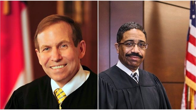 Justice Bob Edmunds, left, and Judge Mike Morgan.