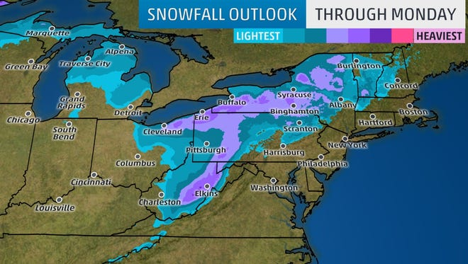 The heaviest potential snowfall may occur in areas in the darkest purple contours, with lighter amounts possible in the lighter blue, teal contours.