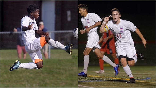 World of Inquiry sophomore Toyi Hakiziamana, left, and Fairport senior Pete Critchlow were named first-team all-state by the National Soccer Coaches Association of America. Twelve other Section V players also earned all-state honors.