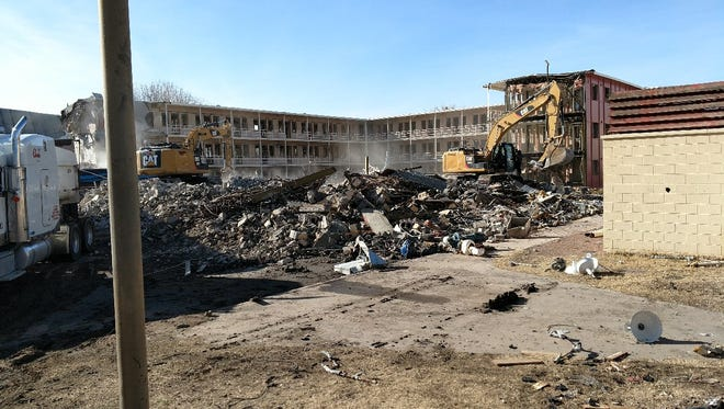 The demolition of Monagle Hall, formerly the Women's Residence Center, is nearing completion at New Mexico State University.