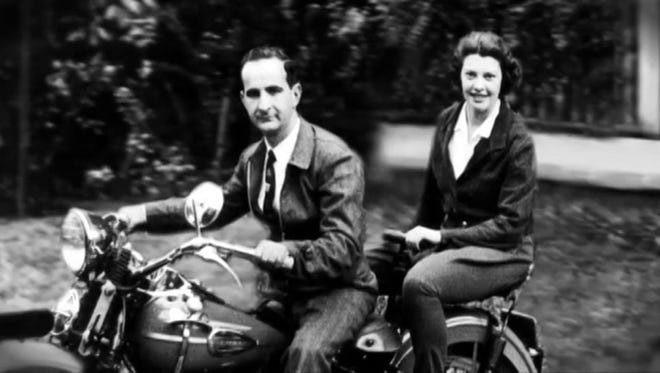 Henrietta Boggs MacGuire and future Costa Rican President Jose Figueres Ferrer take a spin on a motorcycle.