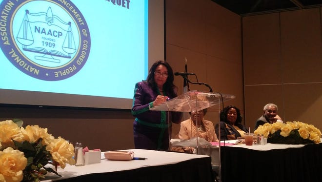Gwendolyn Calwell Morrison speaks during the NAACP's Freedom Fund Banquet in San Angelo Saturday, Feb. 4.