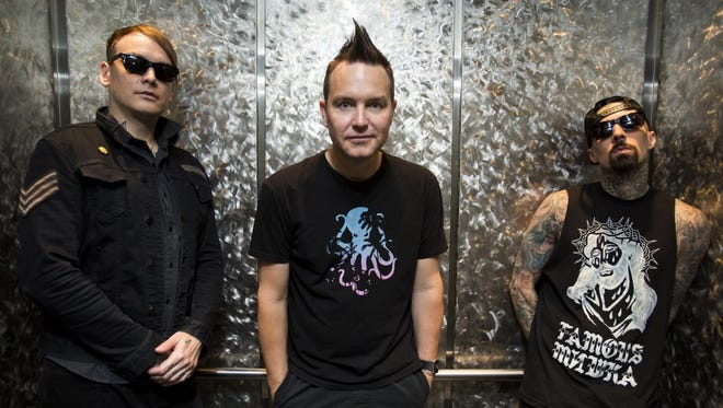 Pop-punk band Blink-182 consists of Matt Skiba, left, Mark Hoppus, center, and Travis Barker. They'll perform at the Pan American Center March 25.