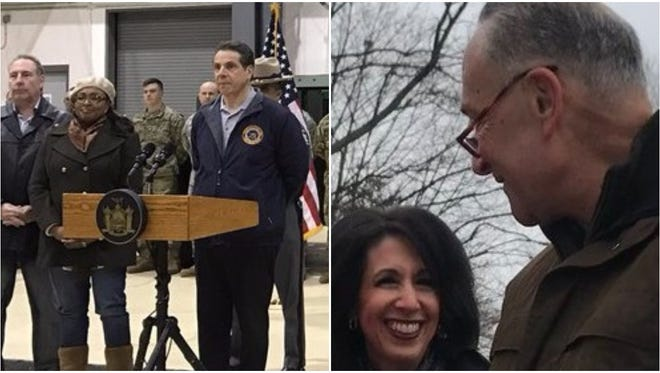 Gov. Cuomo and Sen. Schumer both made appearances Saturday addressing the windstorm and damages.