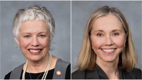 Rep. Susan Fisher, left, and Sen. Terry Van Duyn, right.