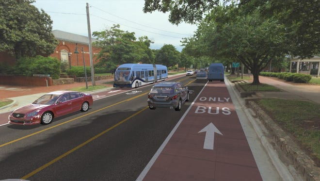 A generic rendering of the lane that would be dedicated for Bus Rapid Transit. The Milwaukee County Transit System is proposing to link downtown Milwaukee to Wauwatosa with a similar concept.