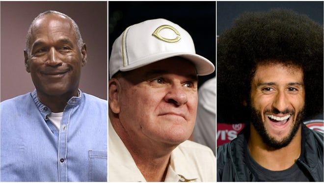 O.J. Simpson, left, Pete Rose, center. and Colin Kaepernick.