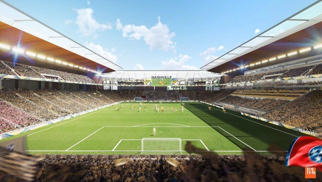 The proposed Major League Soccer stadium at The Fairgrounds Nashville.