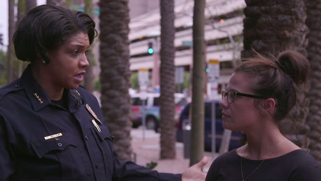 Phoenix Police Chief Jeri Williams speaks with Republic reporter Megan Cassidy on Aug. 23, 2017, about the aftermath of President Donald Trump's rally in Phoenix the night before.