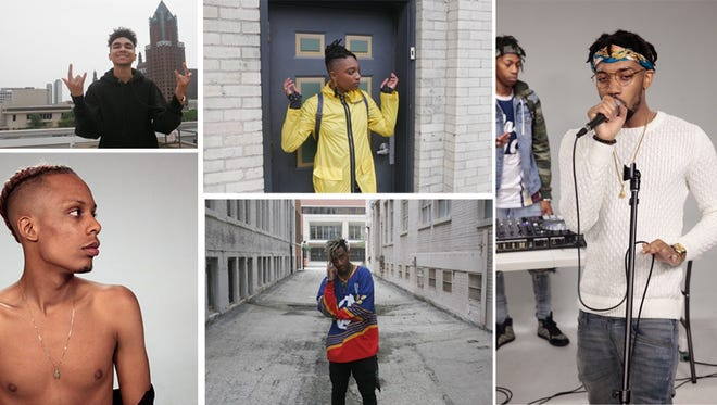 "(Clockwise from top left corner) Denny Lanez, Taj Raiden, BoodahDARR, D.J. The Jenius, and Kane are featured in the Milwaukee Journal Sentinel's ""Milwaukee Rappers on the Rise"" list for 2017. The rappers will perform at a free concert Oct. 7 as part of the Journal Sentinel's ""Bands to Watch"" series."