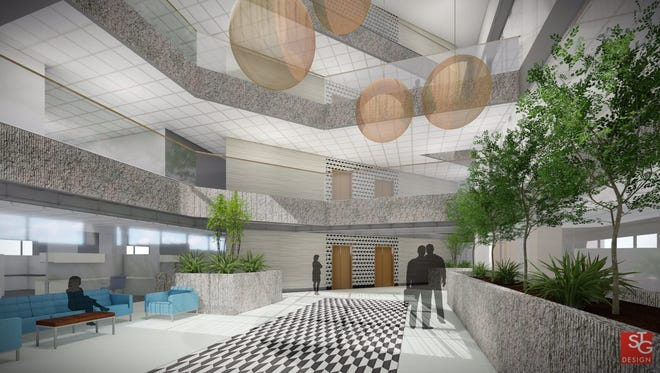 A view showing the planned renovated lobby at the United Steelworkers Building.