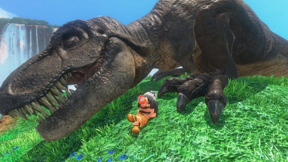 Mario sleeps next to a T. Rex in 'Super Mario Odyssey.'
