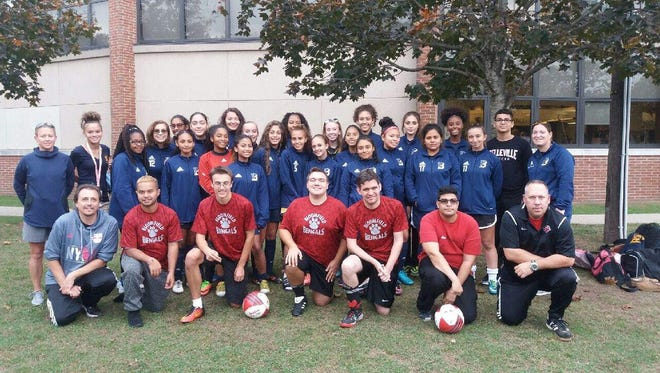 Belleville's girls soccer team worked out with the Bloomfield Special Olympics team.