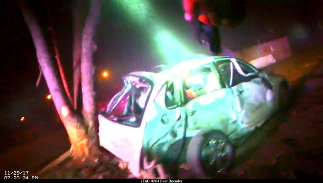 Still from EPD body cam footage of fatal police chase crash.