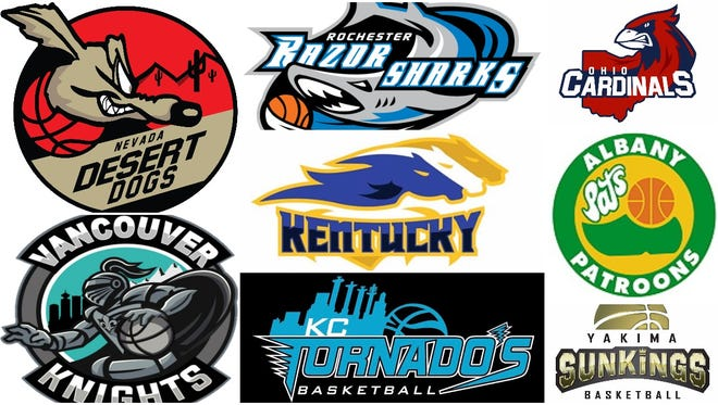The logos for the eight teams that will play the North American Premier Basketball league's first season.