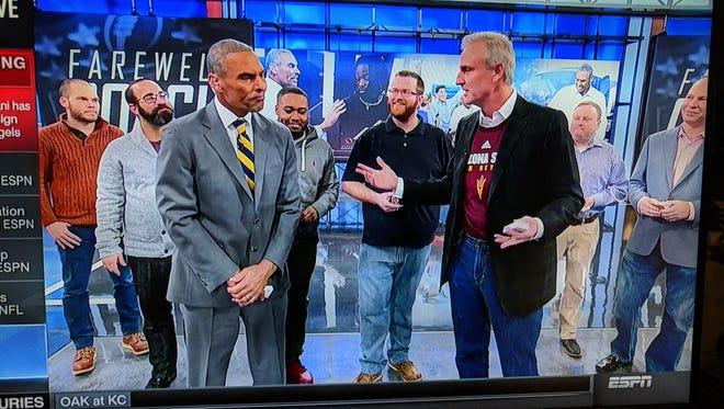 ESPN had a big on-air send off for new Arizona State coach Herm Edwards on Friday, Dec., 8, 2017.