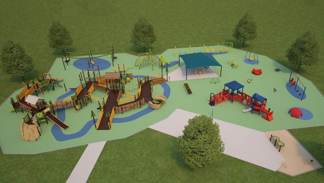 A rendering of the potential play space of the Shaw Family Playground.