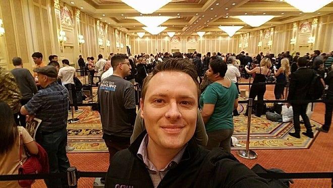"Juna Sleep Systems founder Justin Waggoner awaits a ""Shark Tank"" casting call in Las Vegas on Thursday."