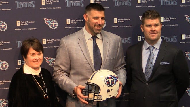 Mike Vrabel is introduced as head coach of the Titans on Monday at Saint Thomas Sports Park.