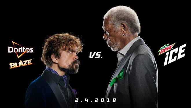Peter Dinklage, left, and Morgan Freeman star in dueling ads to air during the Super Bowl.