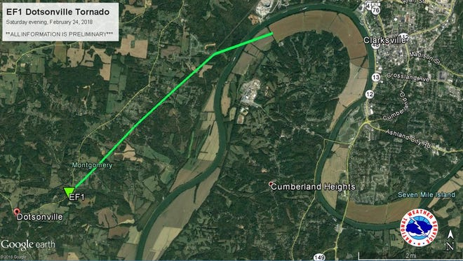 The path of the tornadoes through Montgomery County on Saturday night.