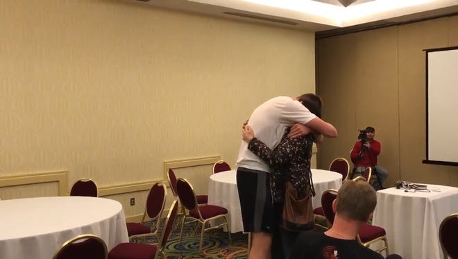 Jacksonville State basketball player Norbertas Giga arrived in Evansville this week to compete in the Ohio Valley Conference Men's Basketball Championship. His coaches set up a reunion he will never forget.