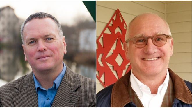 Cedarburg Alderman Mike O'Keefe, left, is facing off against newcomer William Bujanovich in a race for Cedarburg mayor on April 3.