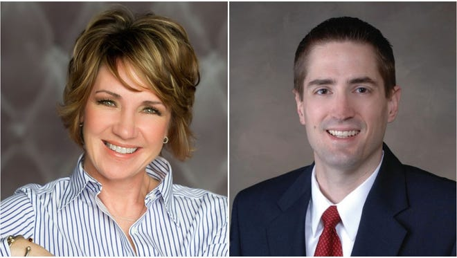 Kim Steinbrenner, left, and Andrew Nerbun, right, are running to represent Mequon's 8th Aldermanic District in the April 3 election.