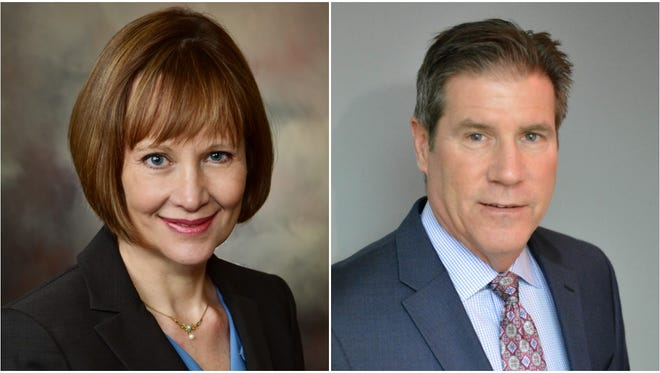 Kathleen Schneider, left, and Chris Schelble, right, are running to represent Mequon's 7th Aldermanic District in the April 3 election.