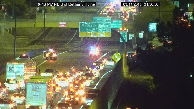 Traffic cameras show vehicles getting off the freeway at Bethany Home Road on Wednesday evening.