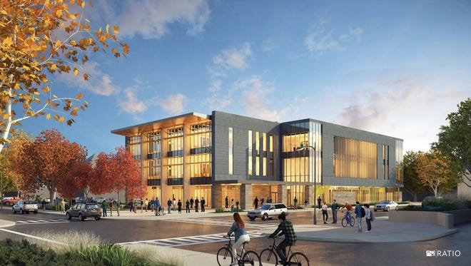 Ivy Tech Community College on Wednesday released this drawing of its new downtown building at High and Main streets.