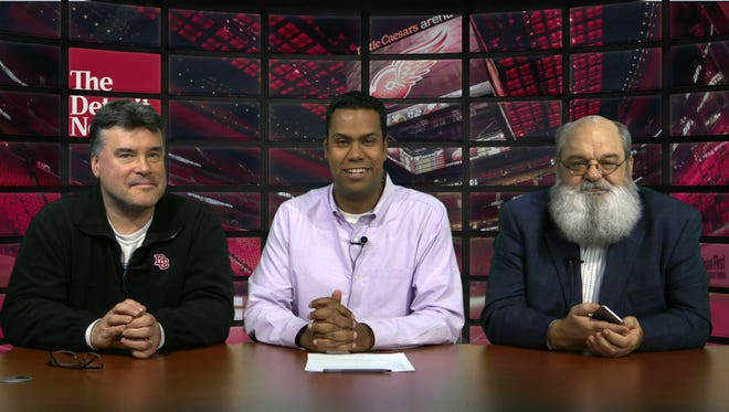 Ted Kulfan, from left, John Niyo and Gregg Krupa talk about the future of the Red Wings.