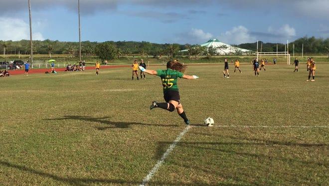 George Washington High goalie Tamika Hechanova kicks the ball into play against Saint Paul in an IIAAG High School Girls Soccer League match Wednesday at the GW field in Mangilao.