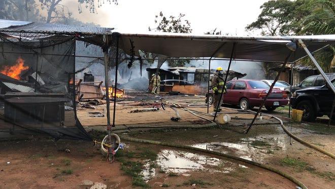 Fire at Chalan Paraisu, Dededo on April 18, 2018.