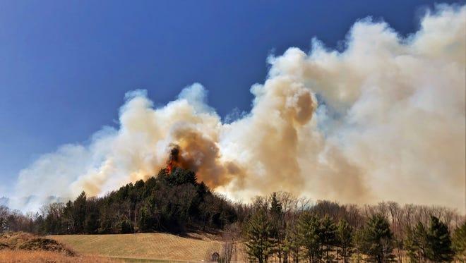 Fire at Bruce Mound Ski Hill, April 29, 2018.