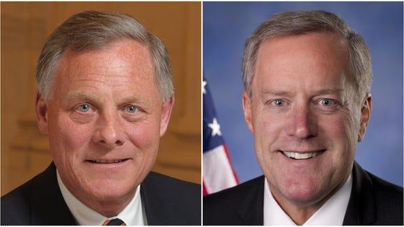 Sen. Richard Burr, left, and Rep. Mark Meadows, right