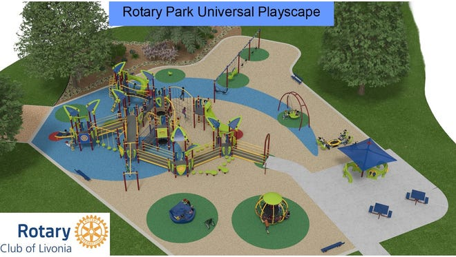 A rendering of what the new playscape will look like at Rotary Park.