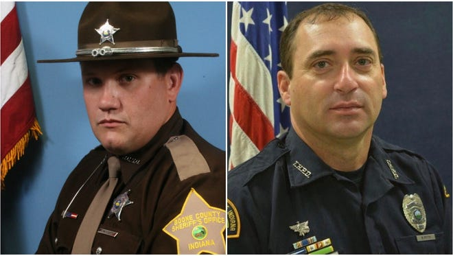 Boone County Deputy Jacob Pickett, left, and Terre Haute Police Officer Rob Pitts were both shot and killed on duty in 2018.