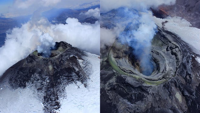 Views of the top of Cotopaxi's long, cylindrical crater. After a sequence of eruptions in 2015, the crater floor dropped out of sight.