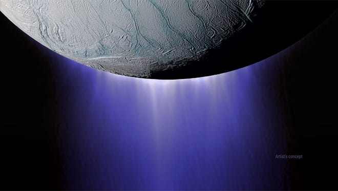 An artist's conception of Enceladus' south pole, shooting out icy plumes.