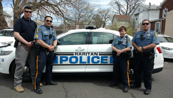 Raritan Borough police officers will be reminding motorists and pedestrians to obey speed limits and use crosswalks throughout the month of July. From left to right: Detective Christopher Wren, Sgt. James Raniere, Officer Kathleen Sausa, and Officer Joseph Nepomuceno.