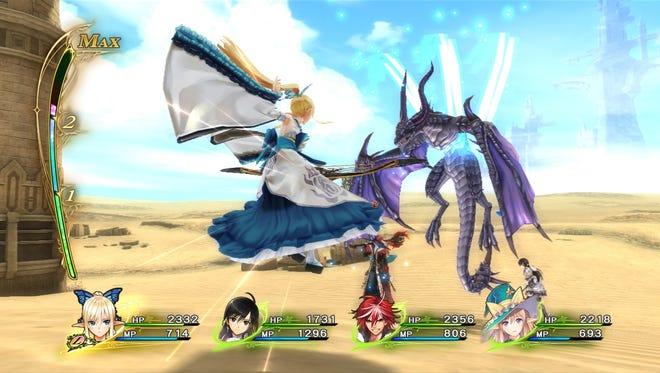 Battling in Shining Resonance Refrain for PS4.