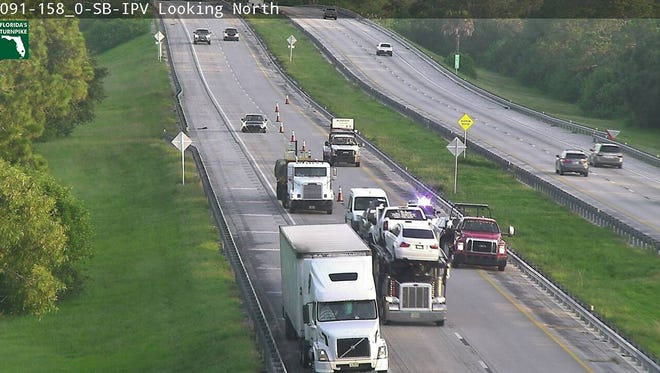 Left lane blocked on Florida's Turnpike in Fort Pierce.