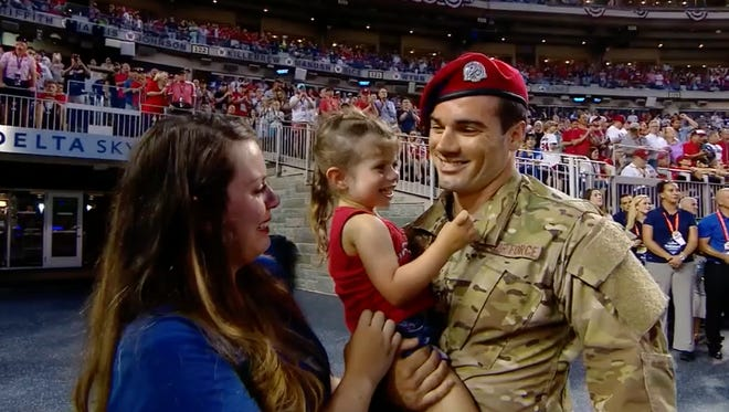Air Force Special Tactics operator Cole Condiff's family was ready to see his face on the jumbotron. Instead, they got something much better.