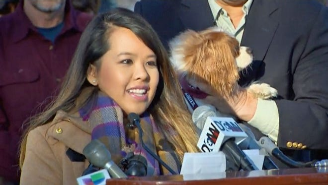 Nina Pham, the Dallas nurse who survived Ebola, was reunited with her beloved pet dog Bentley on November 1, 2014.