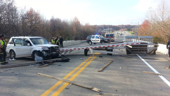 A pick-up truck broke off and hit another vehicle in the area of Christina Parkway and Mason Dixon Trail in Newark.