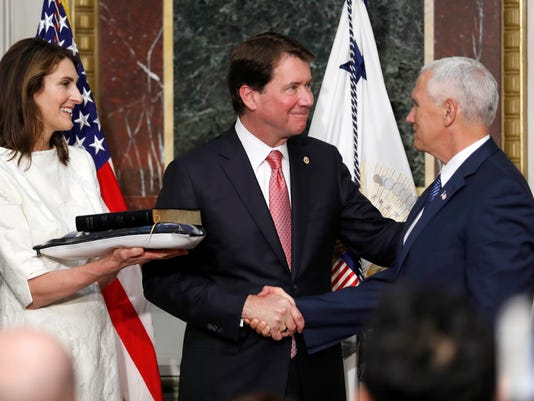 Mike Pence, William F. Hagerty IV, Chrissy Hagerty